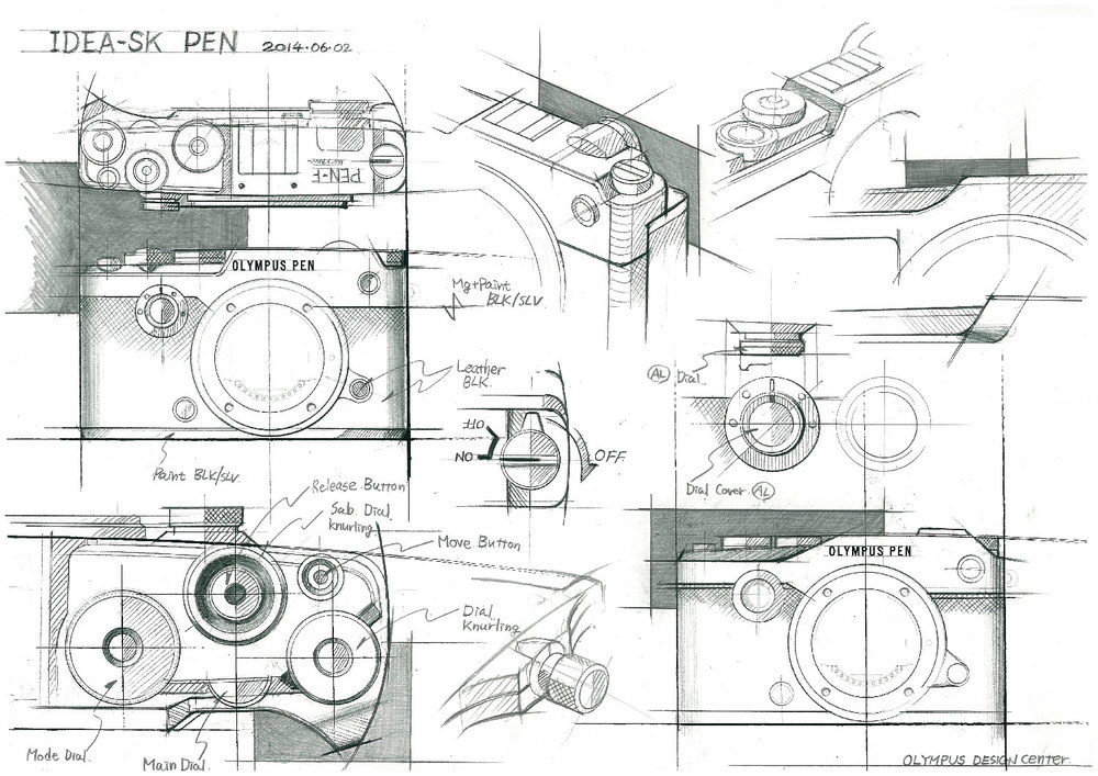 Industrial design sketches of the PEN-F - ©2016 Olympus Corporation. Used with permission.