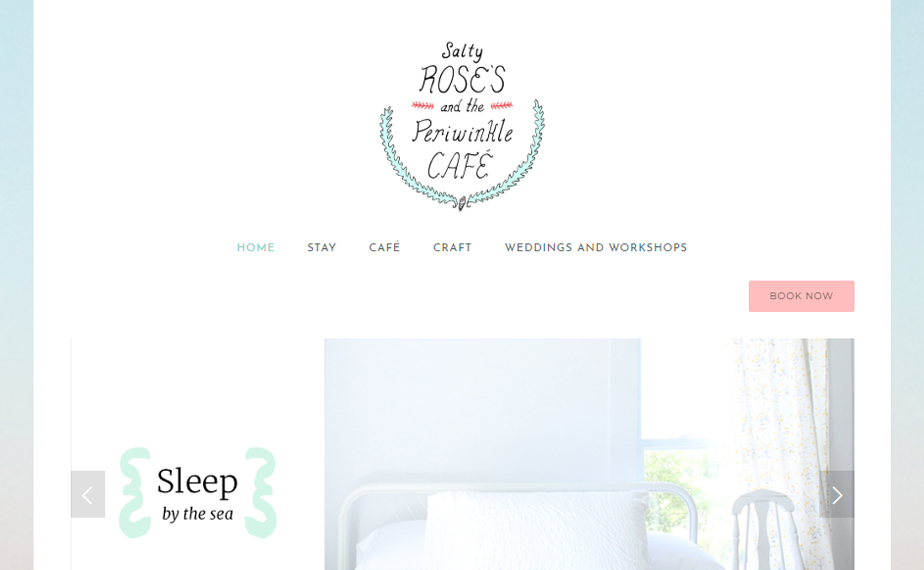 Website for Salty Rose's & the Periwinkle Cafe