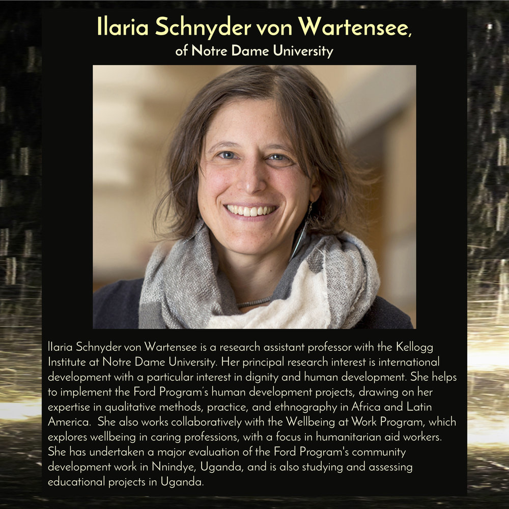 """Ilaria Schnyder von Wartensee , Professor at the  Kellogg Institute of Notre Dame , will speak at  11am on Saturday, Sept 29, 2018 in the Trust Arts Center (805 Liberty Ave, Pittsburgh) , as part of a panel discussion,""""Migrants: Not Numbers, but People."""""""