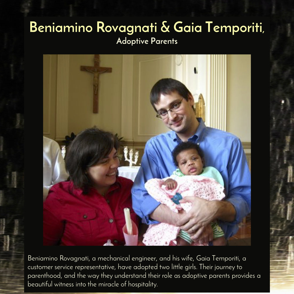 """Beniamino Rovagnati , Mechanical Engineer, and his wife,  Gaia Temporiti , Customer Service Representative, will speak at  6:30pm on Saturday, Sept 29, 2018 in the Trust Arts Center (805 Liberty Ave, Pittsburgh) , as part of the panel discussion,""""The Miracle of Hospitality."""""""