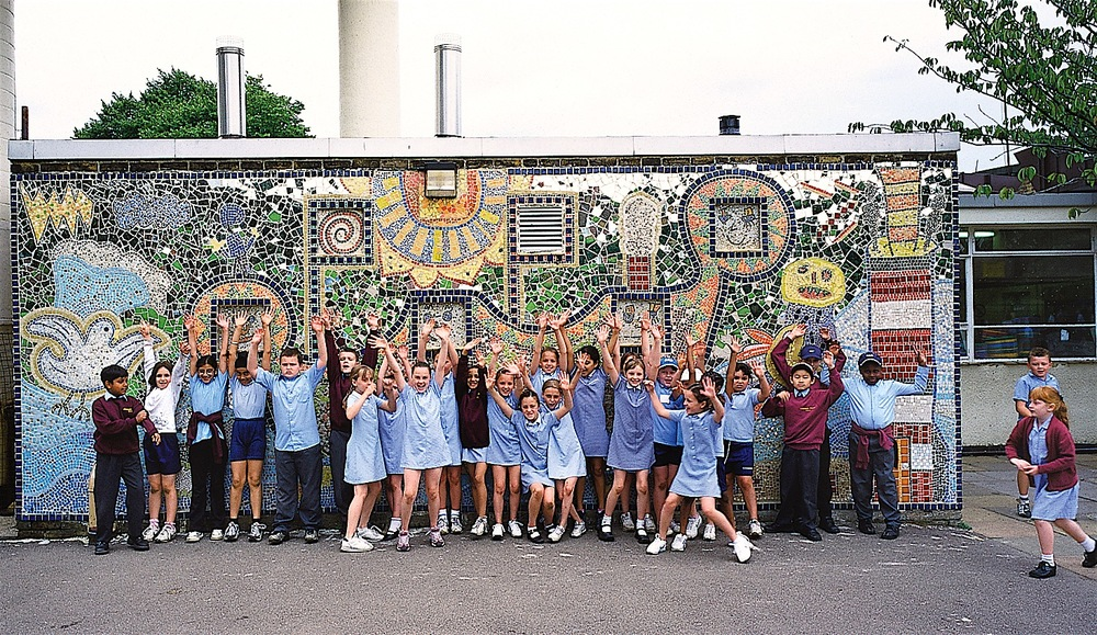 Large-scale outdoor school murals