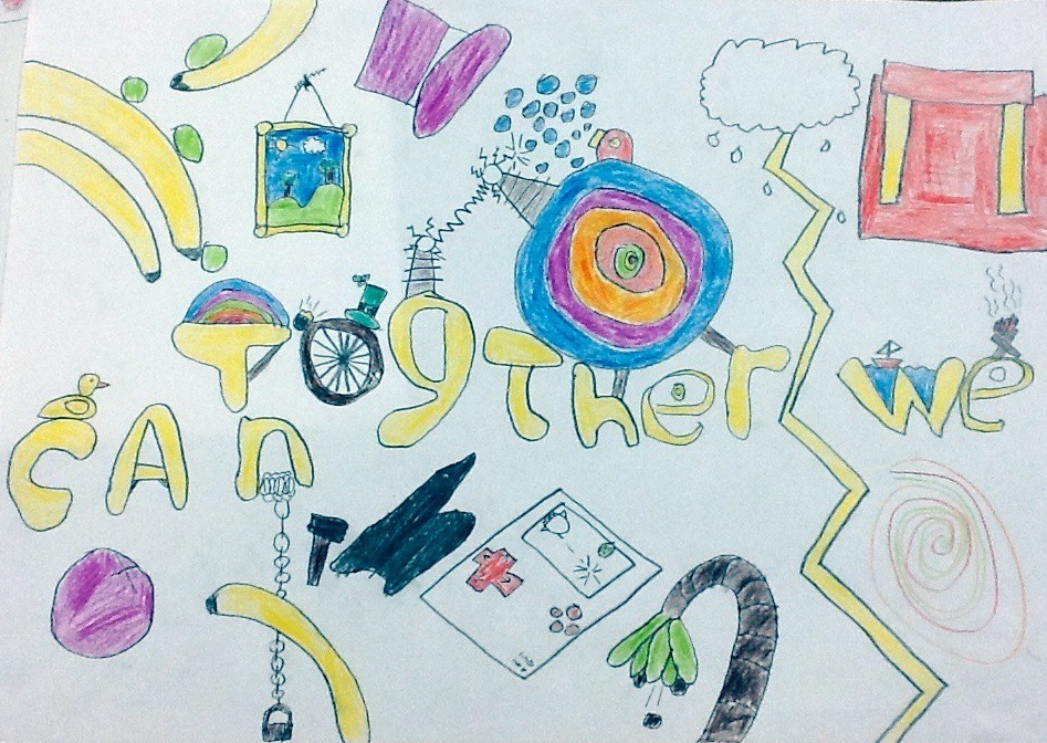 The Abbey Special school in Farnham fundraised to bring in a professional mosaic artist to help create a sign for the playground which celebrated the schools new catchphrase 'Together We Can'. The mosaic work was based around this fantastic interesting drawing produced by one of the pupils.