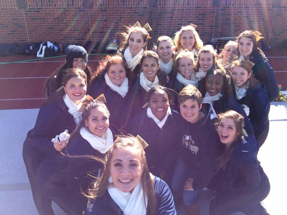 The Juniata College Eagles 2015 Cheerleaders at the last game of the football season
