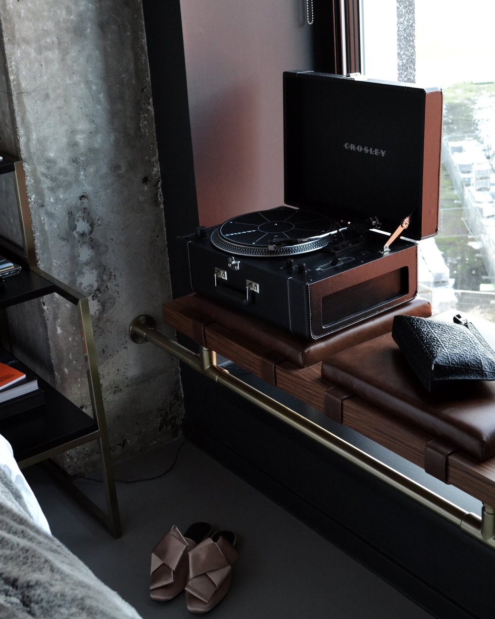 Record player in each hotel bedroom. Photo by  The Daily Bren  .