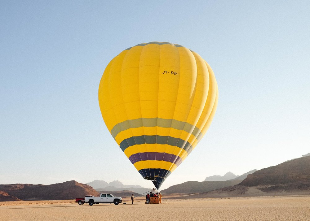 Balloon rides over Wadi Rum, Jordan cost around $150. TOTALLY Worth it.