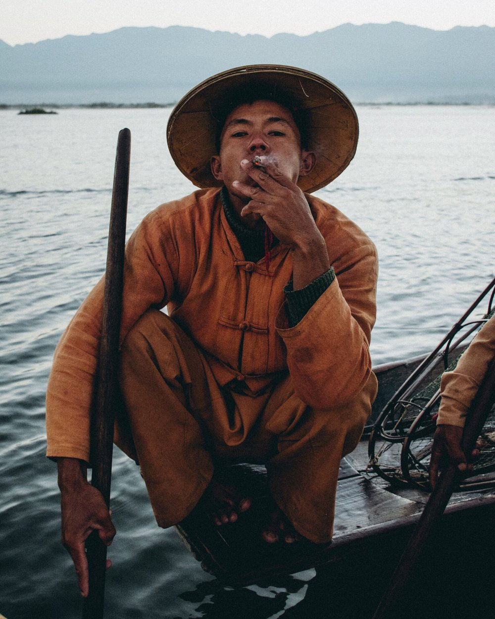 Inle Lake Fisherman Myanmar Portrait
