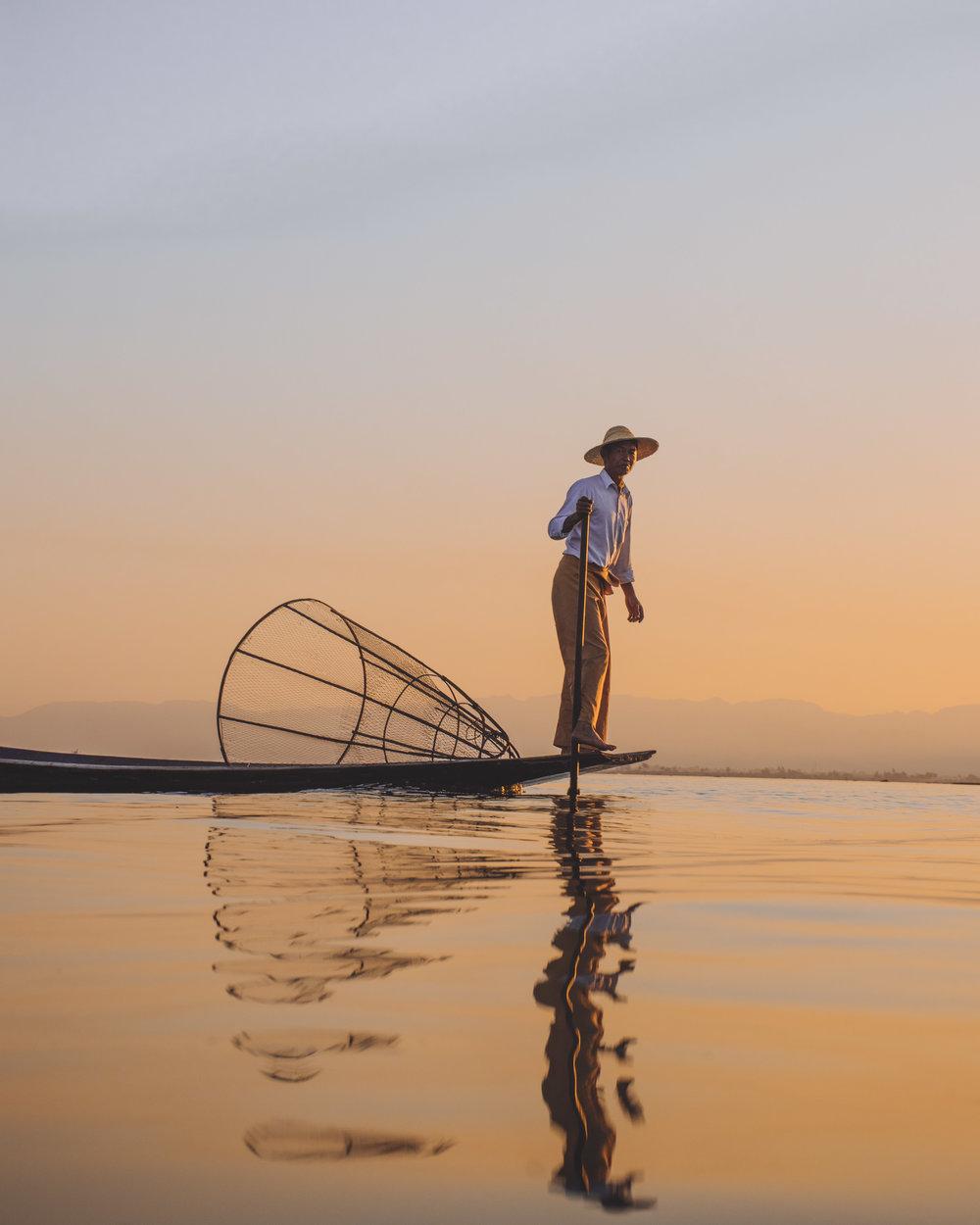 Inle Lake Fisherman Myanmar Sunset