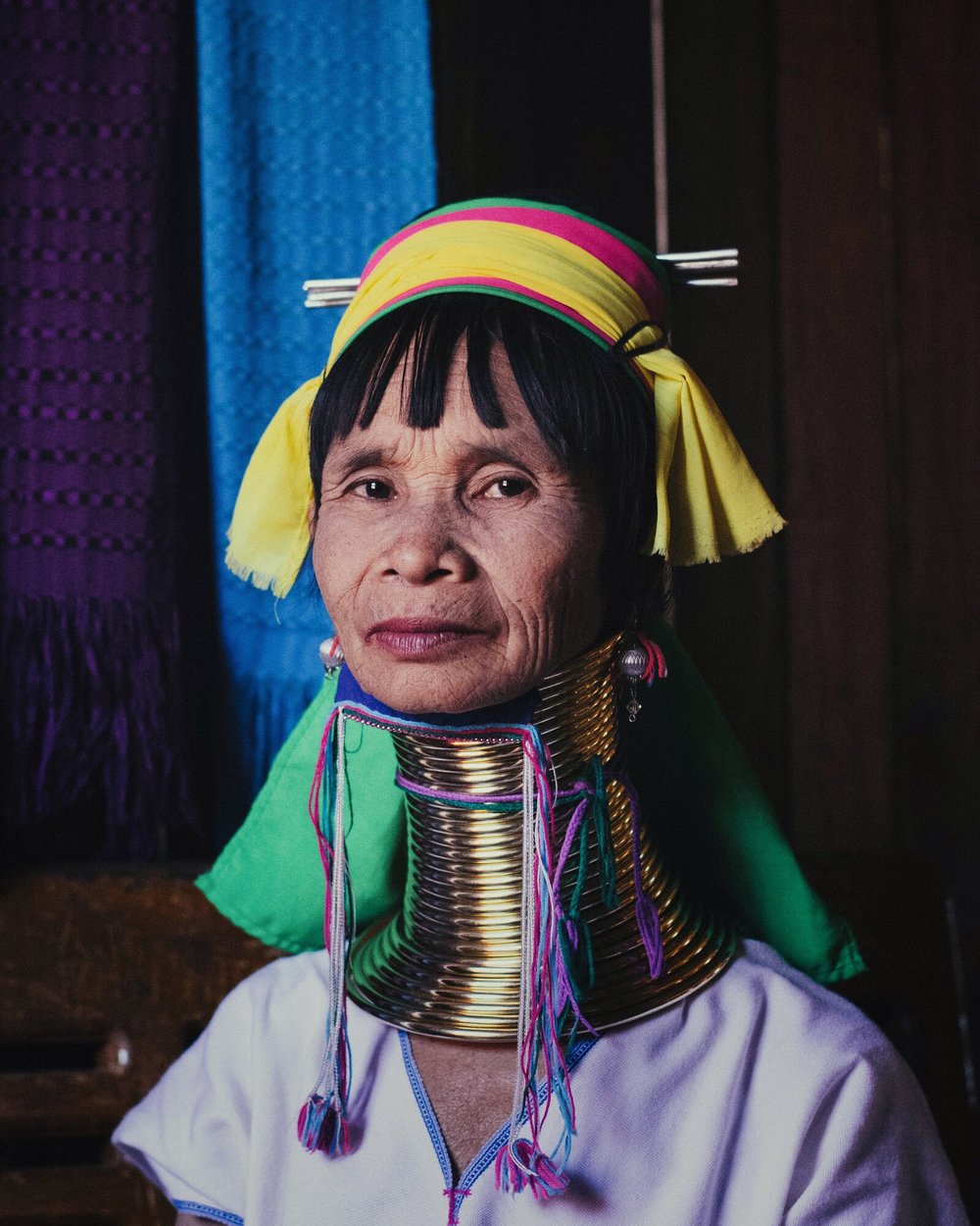 Long neck tribe myanmar portrait woman