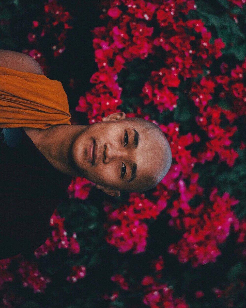 Monk portrait myanmar flowers