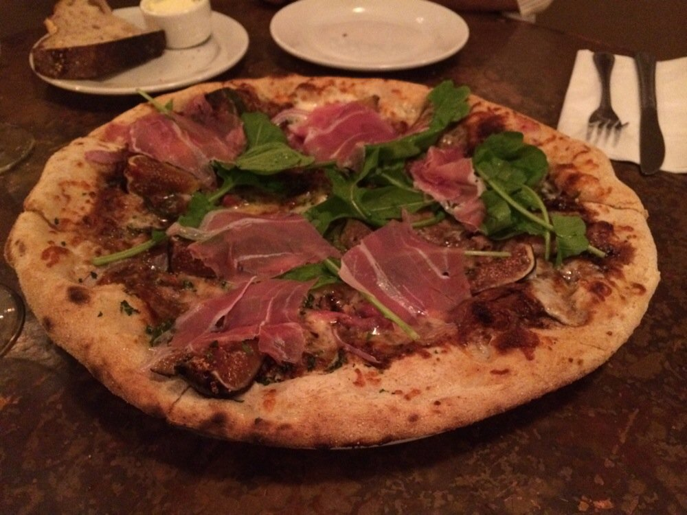 Fig, arugula, prosciutto balsamic glaze pizza.