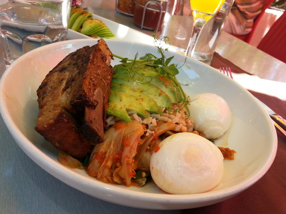 Pork shortrib kimchi bowl avocado and brown rice two eggs benedict.jpg