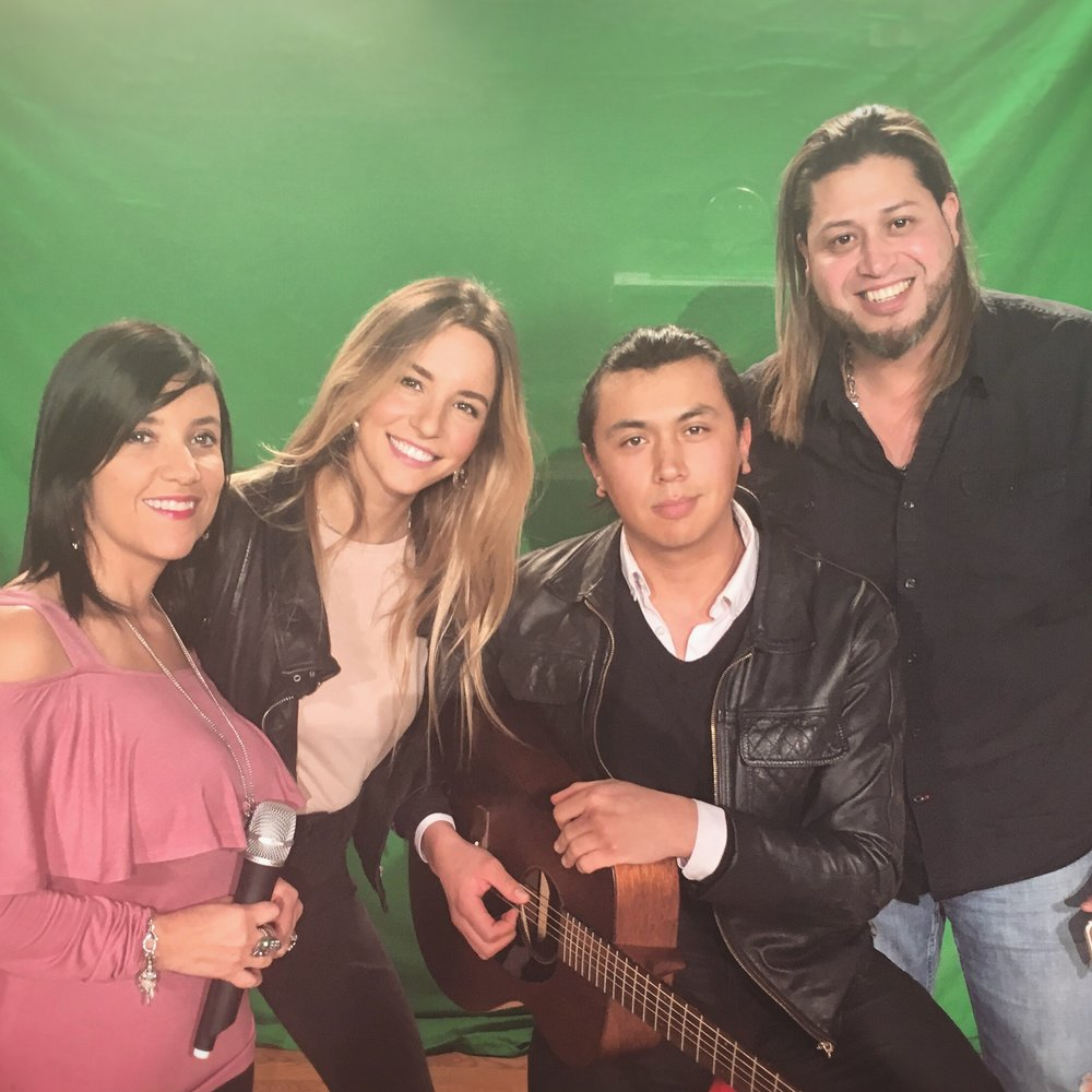 From Left: Jenny Osorio of Latinos VIP, Belén Cusi, Andrés Echeverry, and Angel Morales backstage at Univision Studios in Boston.