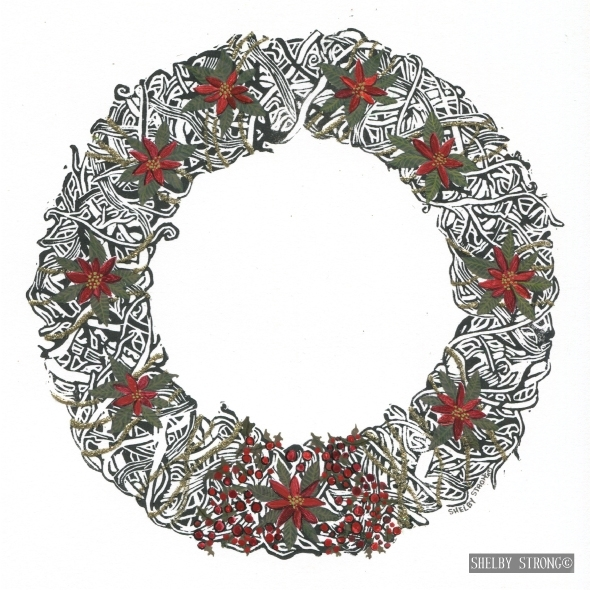 Unity Wreath Series: Christmas Jewels - 1 of 25 Original PrintsEmbellished with hand painted elementsin gouache and a dash of sparkle.Original Print Professionally Framed for: $199Available at The Framer's Gallerylocated in Port Perry, Ontario