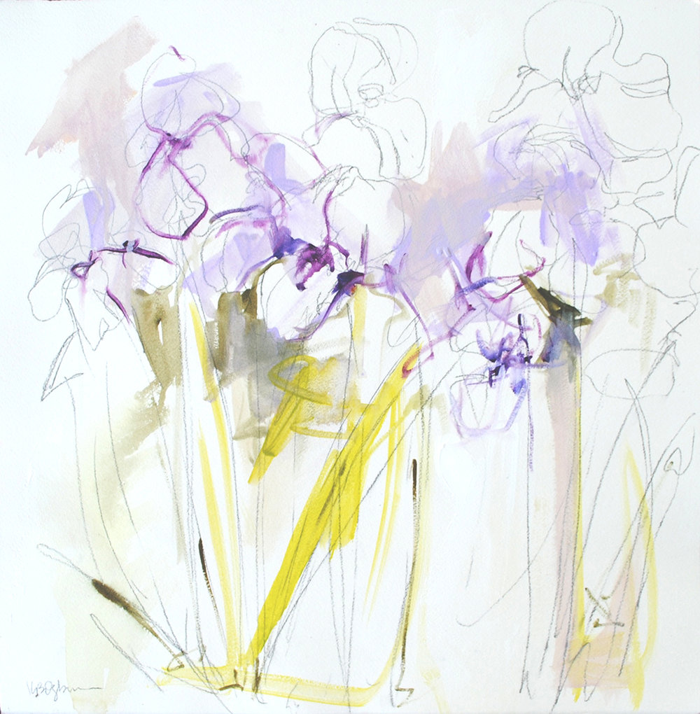 Iris Study 18.5x18.5 on paper available through Markay Gallery