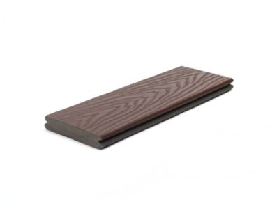 "1"" Grooved Edge Board   Actual dimensions:  .82 in x 5.5 in x 12 ft (20 mm x 140 mm x 365 cm)  .82 in x 5.5 in x 16 ft (20 mm x 140 mm x 487 cm)  .82 in x 5.5 in x 20 ft (20 mm x 140 mm x 609 cm)  Our grooved edge boards install with our Trex Hideaway® Hidden Fastening System beneath the deck surface, leaving a tidy finish free of screw holes."