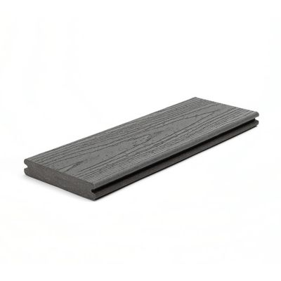 "1"" Grooved Edge Board   Actual Dimensions  1 in x 5.5 in x 12 ft (24 mm x 140 mm x 365 mm)  1 in x 5.5 in x 16 ft (24 mm x 140 mm x 487 mm)  1 in x 5.5 in x 20 ft (24 mm x 140 mm x 609 cm)  Our grooved edge boards install with our Hidden Fastening System beneath the deck surface, leaving a tidy finish free of screw holes."