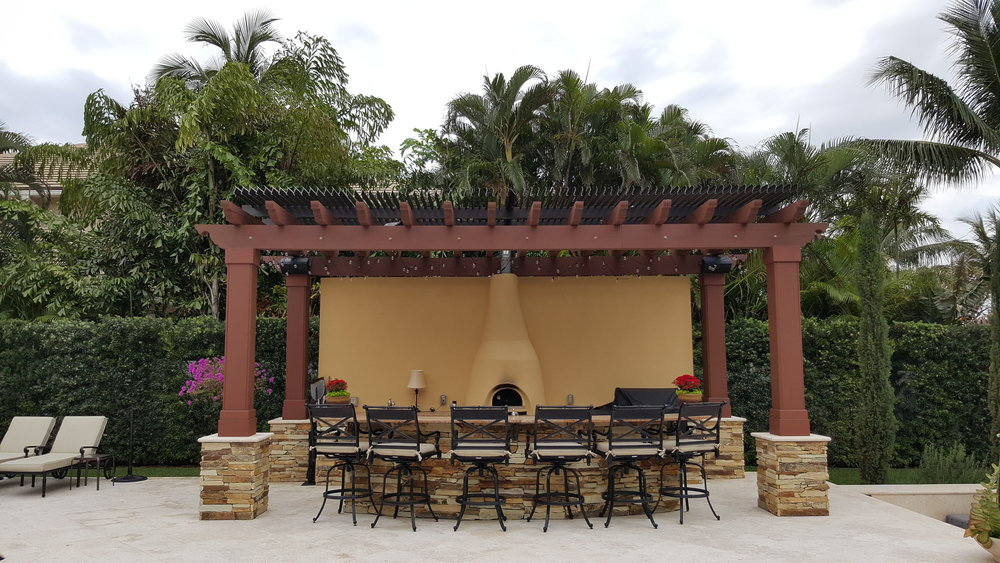 If you ALREADY have a wood pergola, we can also attach Aluminum Louvers on the top to make protect you from the hot Florida sun as well as rain!