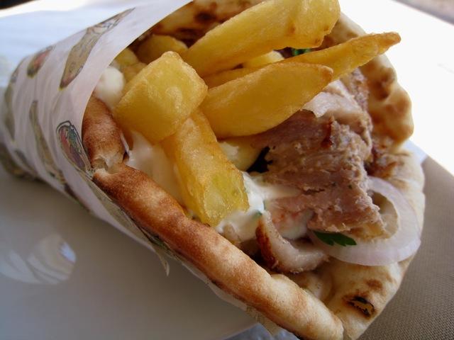 Pita, pork, giro. Nafplio, Greece