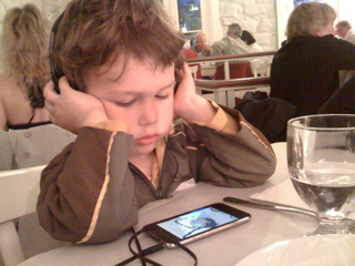 Judah at the dinner table, Athens, Greece
