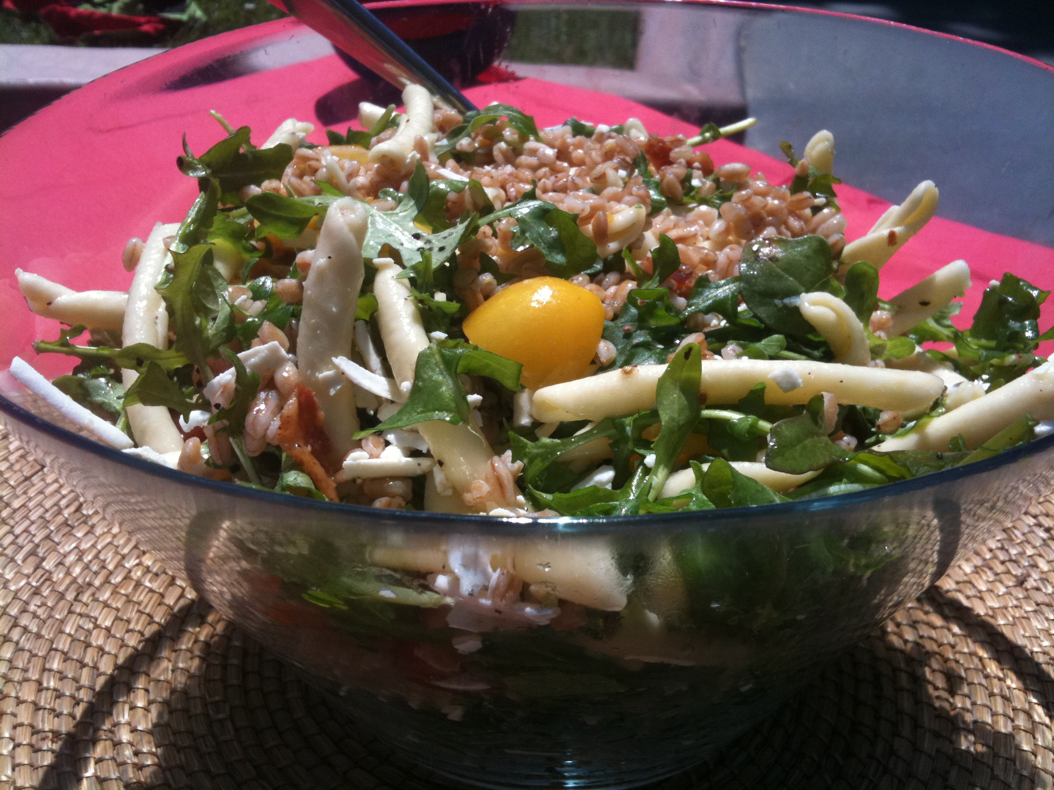 Salad with Faro, Pasta, Arugula and Ricotta Salata