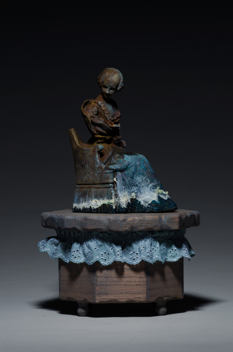 Illness No. 1 , Cast Bronze, Oak, Lace