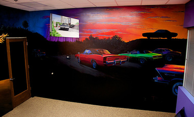 Dodge MOPAR mural, 2 walls, each approx 15x10 ft