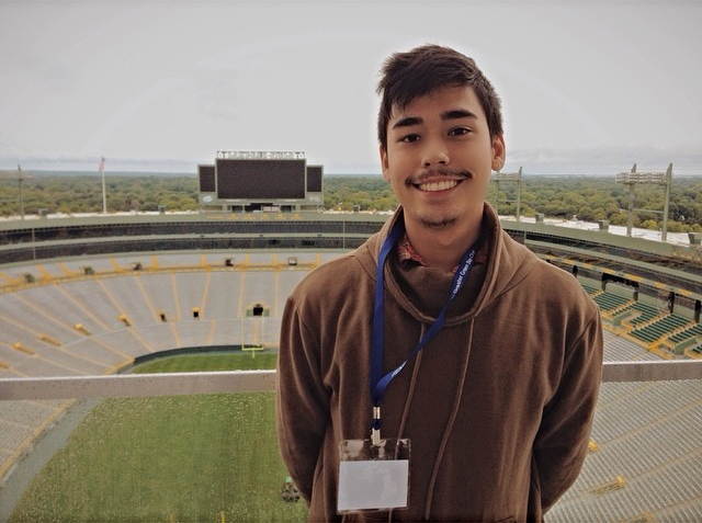 Justin visits Lambeau Field on a Green Bay Packers press tour in August 2014.