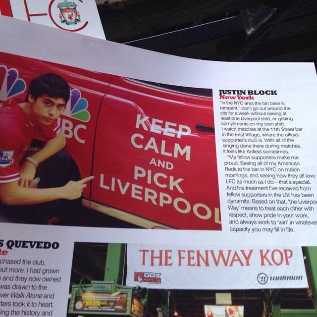 Justin featured in Liverpool FC's match program for their friendly against Manchester City at Yankee Stadium in 2014.
