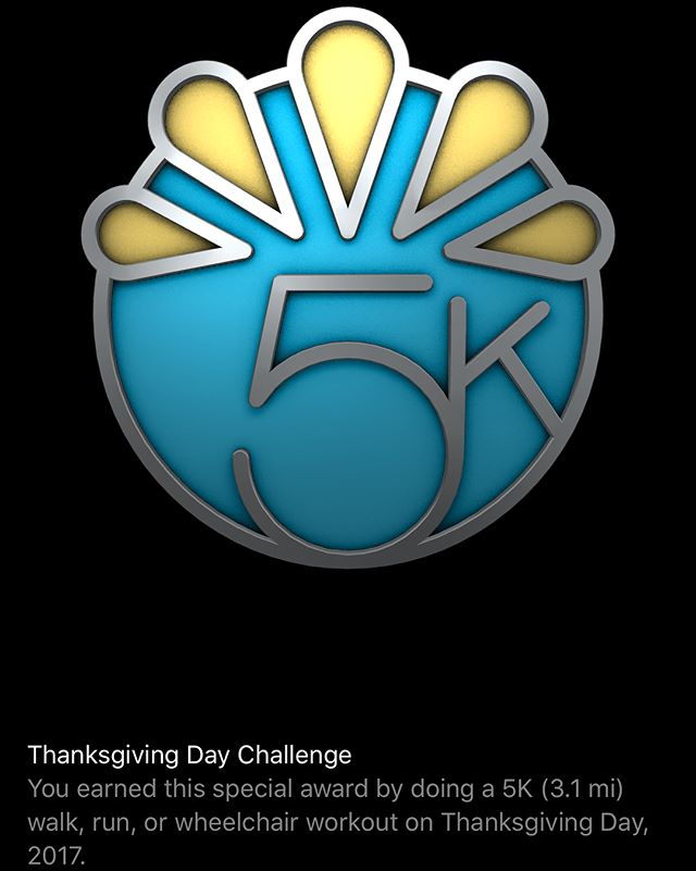 Started #Thanksgiving off right by getting that holiday #AppleWatch badge by doing a chilly 5km walk before consuming 5kg of turkey. #workout #apple #metricmeasurements #lovemesometryptophan 