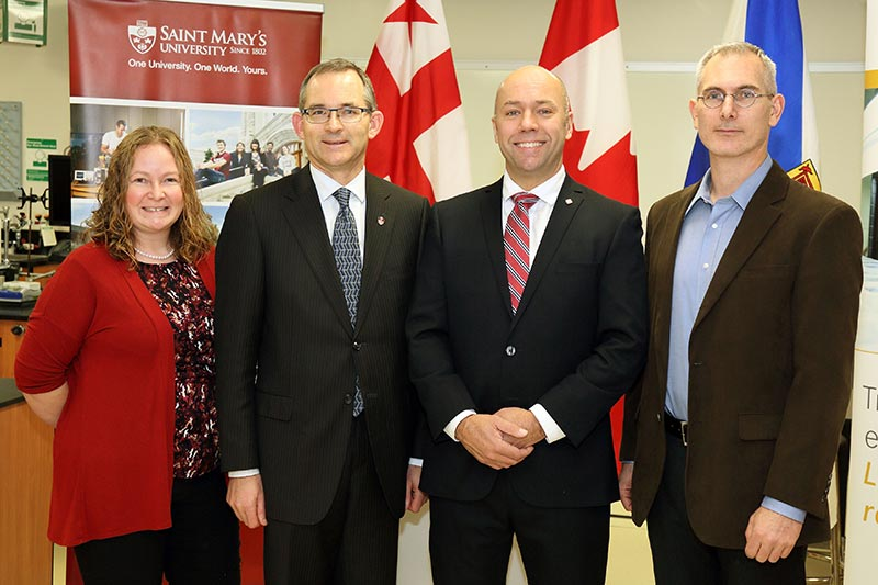 Dr. Christa Brosseau, Associate Professor, Department of Chemistry; Dr. Robert Summerby-Murray, Saint Mary's University President; Andy Filmore, Member of Parliament for Halifax; Dr. Todd Ventura, Associate Professor, Department of Geology