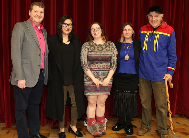 Student Services Senior Director Tom Brophy; Indigenous Students Society Treasurer, Jody Paul, and Co-President, Elora Gehue; Society member Salina Kemp and Elder Billy Lewis.