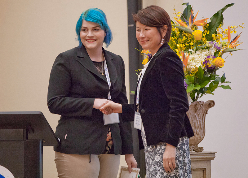 Kensey Phillips (left) receives congratulations from Asako Okai, Consul General of Japan in Vancouver