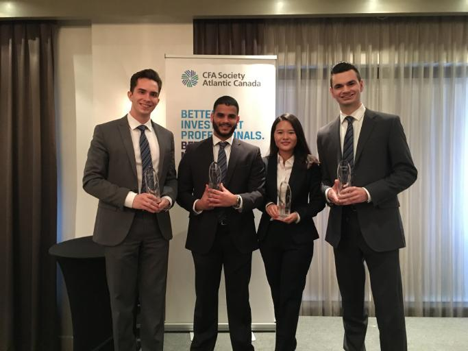 Sobey School of Business' IMPACT Fund Managers Mitchell Norrie, Jorge Gonzalez, Mengqing Chen & Alex Fowler, winners of the Atlantic CFA Competition.
