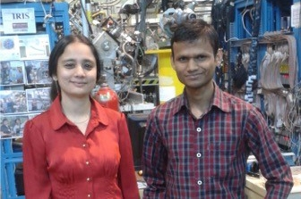 Dr. Rituparna Kanungo, Department of Astronomy & Physics, and Amit Kumar, Master of Science alumnus, at TRIUMF.