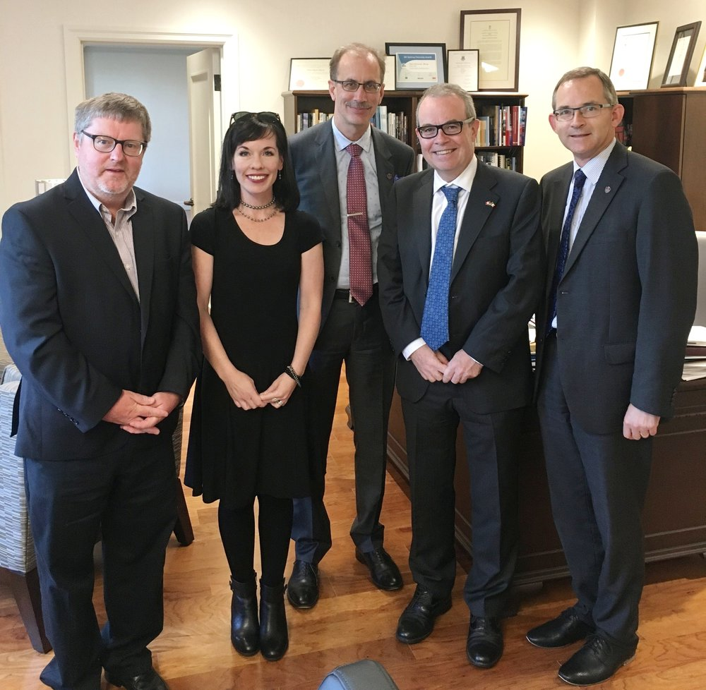 Left to right - Dr. Pádraig Ó Siadhail, D'Arcy Magee Chairholder, Irish Studies; Bridget Brownlow, Conflict Resolution Advisor (Part-time Instructor Irish Studies / Political Science); Dr. Malcolm Butler Vice-President Academic and Research; Mr. Jim Kelly, Irish Ambassador to Canada; President and Vice-Chancellor, Dr. Robert Summerby-Murray.