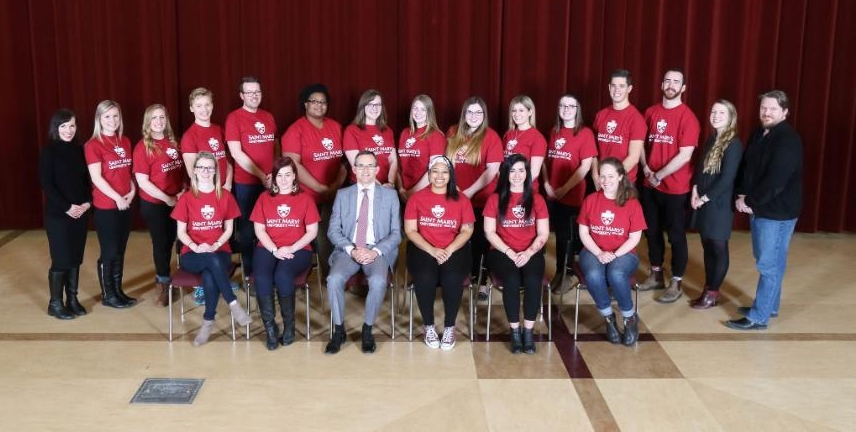 The Saint Mary's University Conflict Resolution Society and their Senior Program Coordinators with Saint Mary's President Dr. Robert Summerby-Murray.