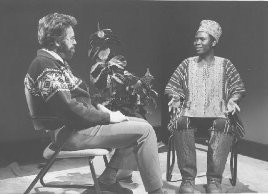 Dr. Jim Morrison discusses education in developing countries with Dr. John Orkar on the weekly Halifax cable TV show 'Your World'. 1980. University Archives.