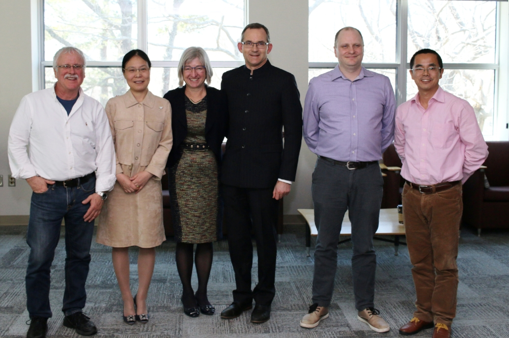 Dr. Charles Beaupre, Canadian Co-Director; Maria Pan, Chinese Co-Director; Susan Summerby-Murray, Saint Mary's President Rob Summerby-Murray; Dr. Eric Henry, incoming Canadian Co-Director; Dr. Guo, Zhaoyang incoming Chinese Co-Director