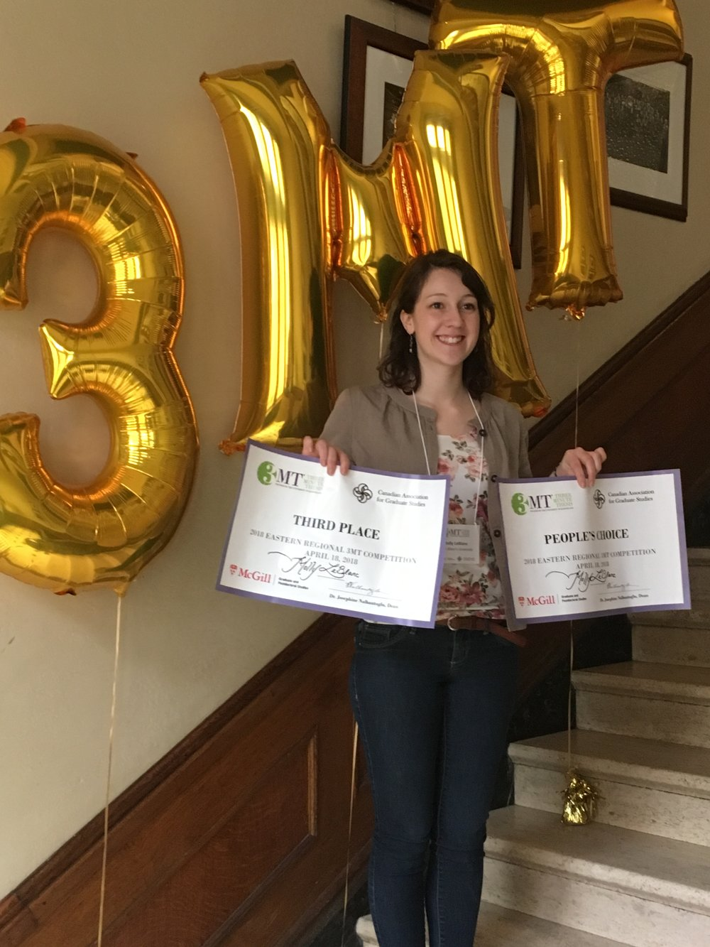 MSc in Applied Science student Molly LeBlanc with her Three Minute (3MT) Thesis Canadian Eastern Regional Competition people's choice award and third place certificate.