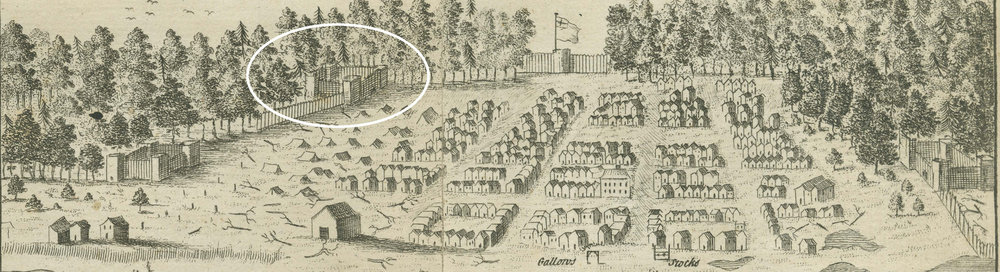 A view of Halifax drawn during the town's first few months and published in 1750. The wooden town wall is partly complete, and the perimeter fort at the later site of RA Park is circled. NOVA SCOTIA ARCHIVES