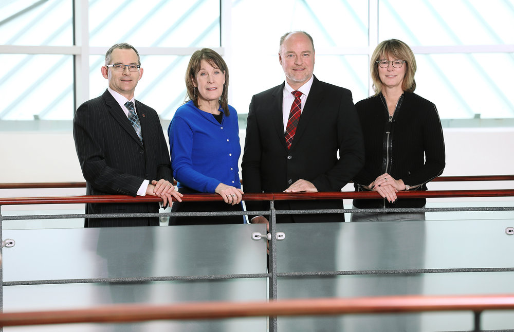 President and Vice-Chancellor, Dr. Robert Summerby-Murray, Hope Swinimer, Scott Armour McCrea and Board Chair Karen Oldfield, Q.C.