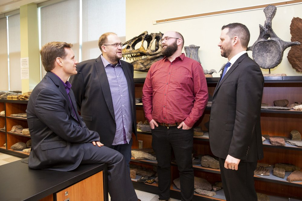 Dr. Jacob Hanley and Kevin Neyedley chat with Sean Kirby, left, executive director of the Mining Association of Nova Scotia, and Energy and Mines Minister Derek Mombourquette. (Photo: Kelly Clark/CNS)