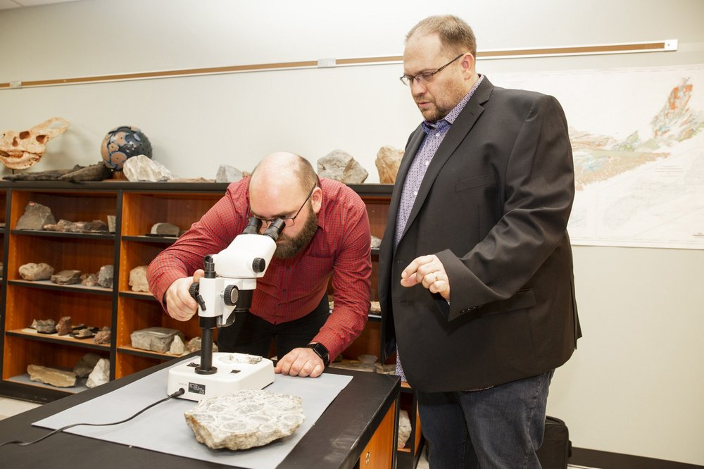 Kevin Neyedley, left, and Dr. Jacob Hanley of Saint Mary's University in Halifax are doing research supported by Nova Scotia's Mineral Resources Development Fund. (Photo: Kelly Clark/Communications Nova Scotia)