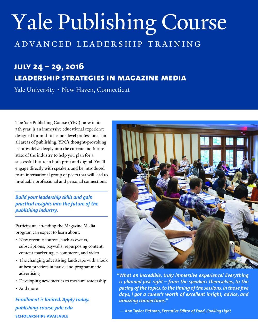 2016 Magazine Media Preliminary Program Flyer