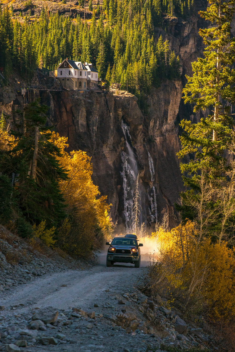 Toyota Truck Coming up to Bridal Veil Falls.JPG