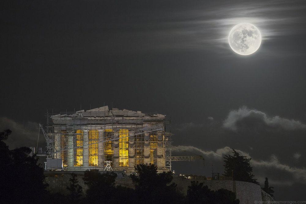 Supermoon over the Acropolis - TWAN Honorable Mention Award | © Alexandros Maragos