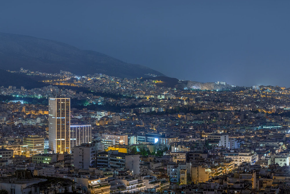 Alexandros Maragos 324 Megapixel Night Panorama of Athens for Greece's Next Top Model TV Show, Star Channel.