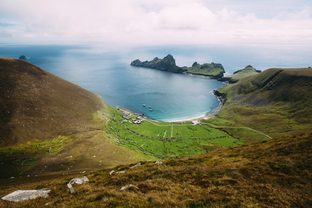 Village Bay on Hirta, the only inhabited island of the St Kilda Archipelago. Dun, the island at centre top, was previously connected to Hirta by a rock archway which has been lost to the Atlantic.  Dun comes from the Gaelic for 'shield' as it protected the bay from th Atlantic winds.