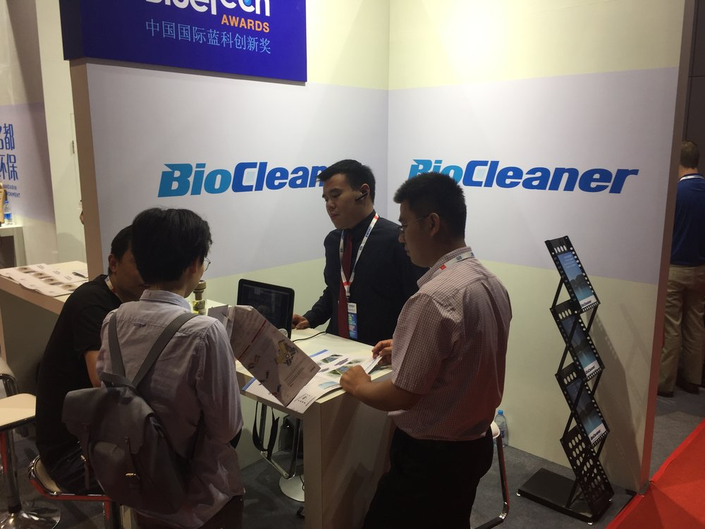 Dennis Tee introduces BioCleaner to Chinese attendees