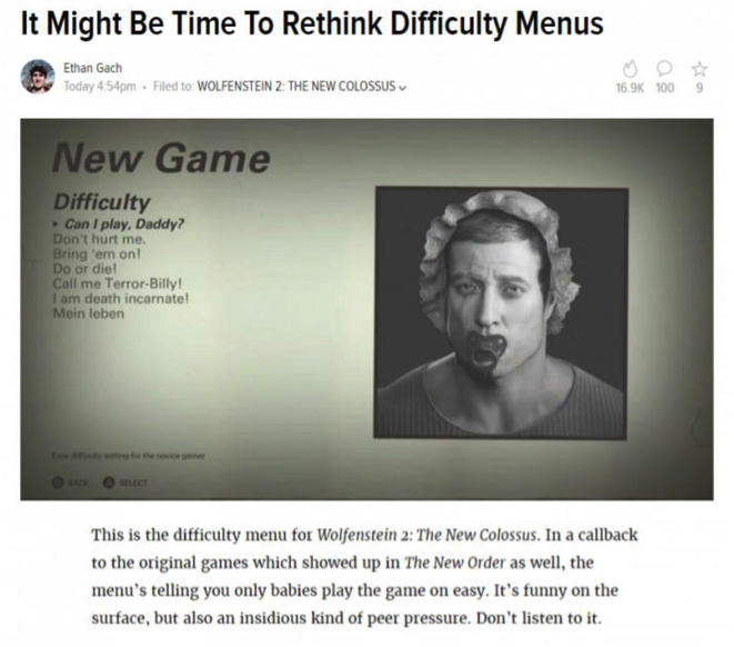 Photo Credit : Ethan Gach/ KOTAKU     [Image Description: A screenshot of an article reading 'It may be time to re-think difficulty menus,' showing a further screenshot of the difficulty menu from Wolfenstein 2. The highlighted difficulty reads 'Can I play, Daddy?' showing an image of a man wearing a baby's bonnet and sucking a dummy.]